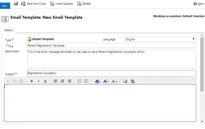 Patient Registration Email Template